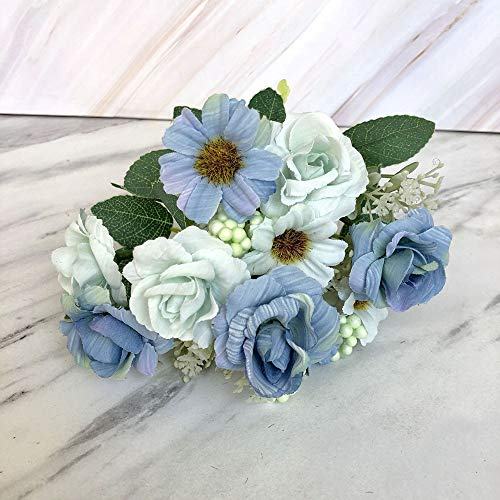 Chocolate Silk Shade Table Lamp - Gotian 30cm Artificial Fake Blooming Rose Flower Bridal Bouquet Wedding Party Home Decor (Sky Blue)