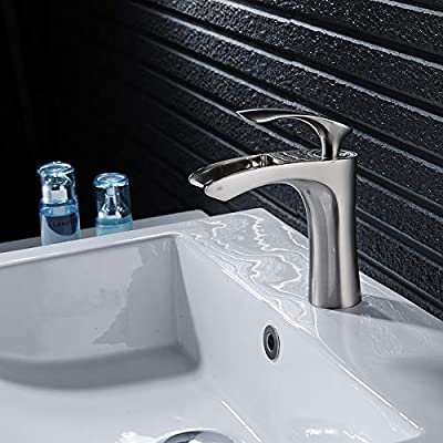 Beati Faucet Waterfall Single Handle Bathroom Sink Faucet,Brushed Nickel Finished