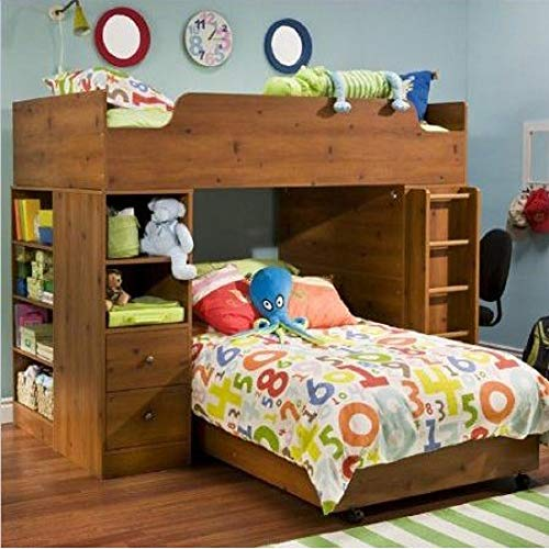 Hutch Pine Bedroom (Svitlife Sunny Pine Twin over Twin L-Shaped Bunk Bed Storage L Shaped Bunk Bed Twin Over Storage Beds Sunny Pine Loft Dresser Studio)