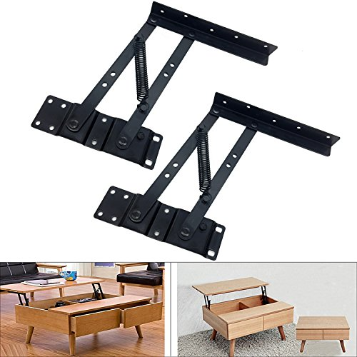 GreatBBA 2pcs Folding Lift up Top Coffee Table Lifting Frame Desk Mechanism Hardware Fitting Hinge Spring Standing Rack Hinge Rack Bracket (Spring-actuated) (Shape Top Table)