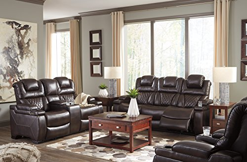 Warnerton Contemporary Chocolate Color PU Leather Power Reclining Sofa Loveseat and Recliner with Adjustable Headrest