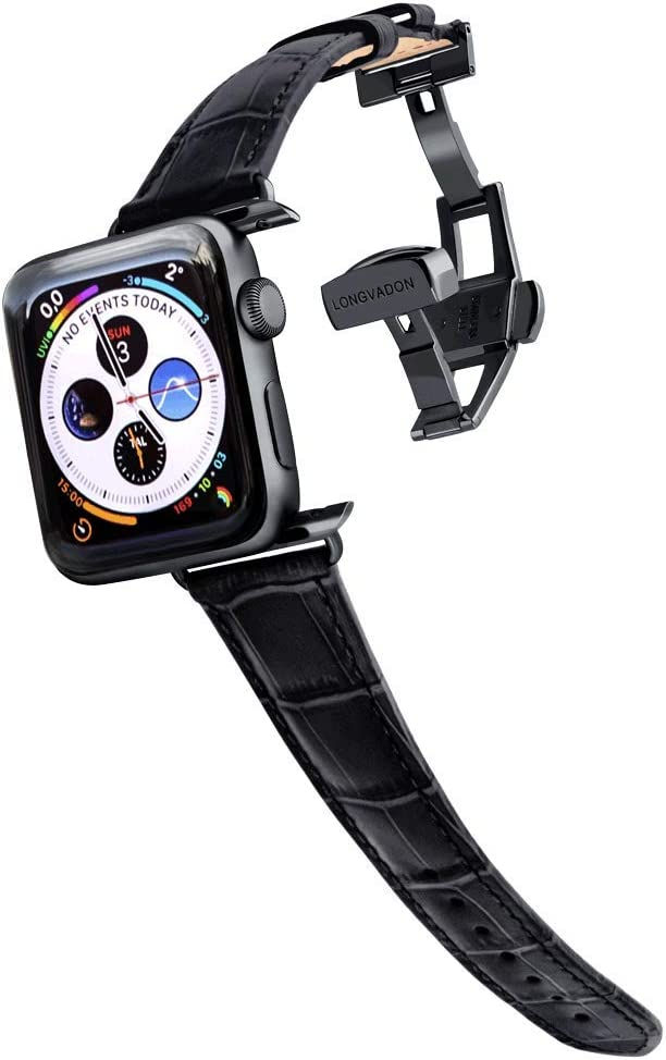 Longvadon Women's Caiman Series Watch Band - Compatible with Apple Watch 38MM (Series 1-3) & 40MM (Series 4-6) - Genuine Top Grain Leather - Midnight Black with Black Details - M Size