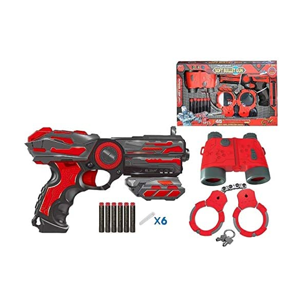 SHANBUYERS – Xplore the Unxplored High Speed and Long Range Police Role Play Gun Pistol Toy with 6 Soft Foam Bullets, Handcuff and Telescope for Kids (Multicolour)
