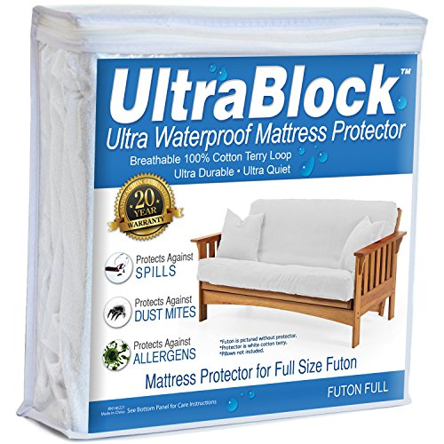 UltraBlock Futon Full Waterproof Mattress Protector - Premium Soft Cotton Terry Cover ()