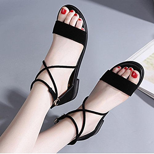 Sandales à talons hauts Chaussures pour femmes Chaussures croisées d'été Chaussures romaines Sandales plates en cuir à un bouton 6001 black 38