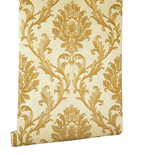 Blooming Wall Vintage Gold Damasks Wallpaper Wall Paper Wall Mural for Livingroom Bedroom Kitchen, 20.8 In32.8 Ft=57 Sq Ft/Roll, Gold