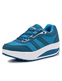 Orlancy Women's Mesh & Leather Lace Up Platform Wedges Walking Sneakers Sports Shoes