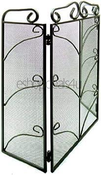 Inglenook – Protector de Chimenea antichispas con 3 Plegables, Metal con forja Decorativa, Color Negro: Amazon.es: Hogar