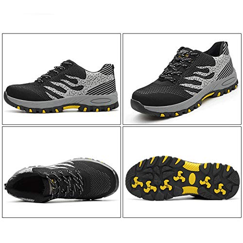 abc23e8e39fc UPSTONE Work Shoes for Men, Indestructible Steel Toe Battlefield Shoes Work  Safety Womens Shoes Breathable Construction Sneakers, 113 Black 40
