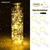 LESTAVEN Pack of 6 LED Starry String Lights,Fairy Lights Battery Operated by 2x CR2032(Incl),7Feet/2m 20 Micro LEDs For Costume, Wedding, Bedroom, Christmas Decoration (Warm White,one more) (6 pics)