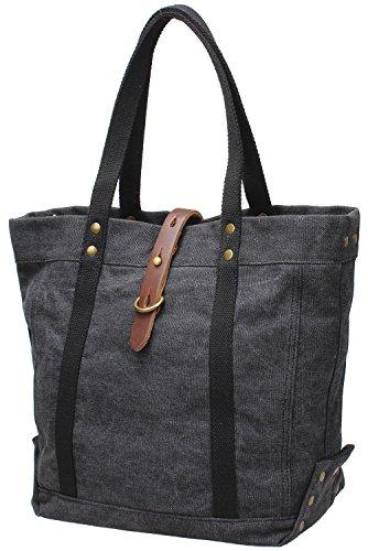 Iblue Women Totes Bag Canvas Top Handle Shoulder Handbag Large #254 (grey)