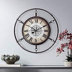 River Parks Studio Matte Deep Red 25 1/4 Round Hand-Made Compass Wall Clock
