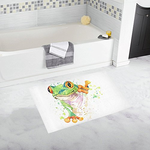 InterestPrint Watercolor Tree Frog Tropical Rainforest Animal House Decor Non Slip Bath Rug Mat Absorbent Bathroom Floor Mat Doormat Large Size 20 x 32 Inches