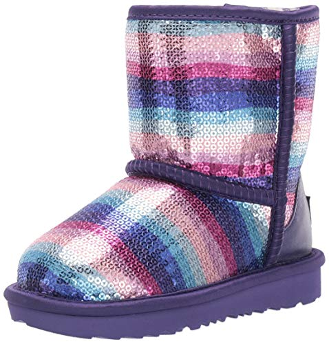 UGG Girls' Classic II Sequin Fashion Boot, Violet Rainbow, 10 M US Toddler