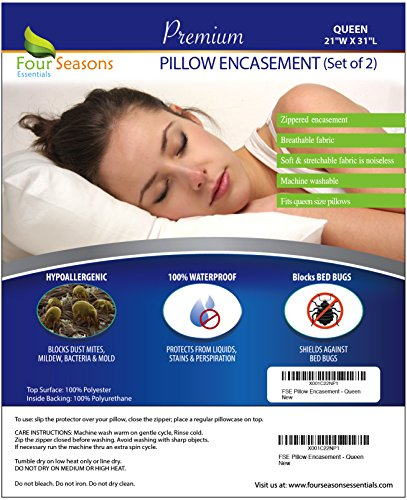Queen Size Waterproof Pillow Protectors (Set of 2) – Allergy Pillowcase Cover Hypoallergenic Bedbug Dust Mite Proof Zippered Encasement