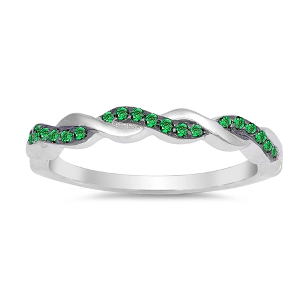 CloseoutWarehouse Simulated Emerald Cubic Zirconia Half Way Braided Band Ring Sterling Silver Size 10