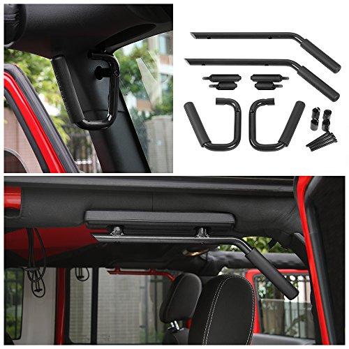 & Front Grab Handle Kit for 2007-2017 Jeep JK Wrangler & Unlimited 4 Door ()