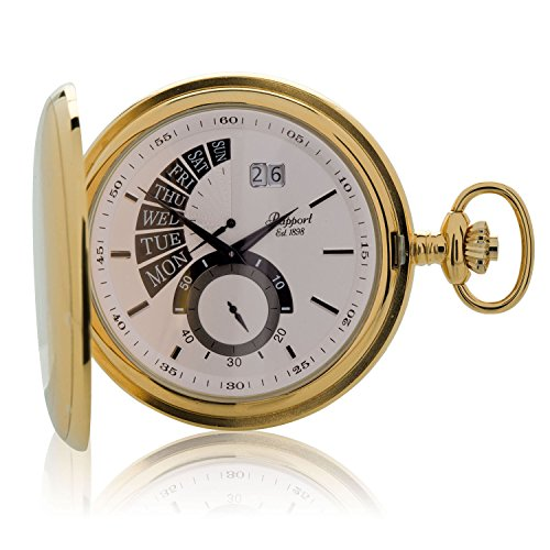 Vintage Pocket Watch with Chain by Rapport - Classic London Oxford Full Hunter Retrograde Pocket Watch - Gold Plated