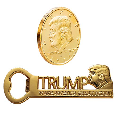 Donald Trump 2020 Gifts, MAGA Magnetic Bottle Opener with Gold Plated Collectibles Coin 2020