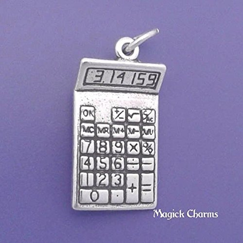 Sterling Silver 3D CALCULATOR Math Teacher Accountant Charm Pendant - lp2560 Jewelry Making Supply Pendant Bracelet DIY Crafting by Wholesale Charms