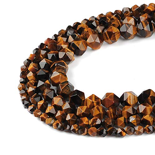 38pcs Tiger Eye Agate Beads for Necklace Bracelet Loose Beads 10mm Faceted Stone Beads for Jewelry Project ()