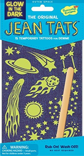 Peaceable Kingdom Jean Tats Glow in The Dark Outer Space Temporary Tattoos for Fabric