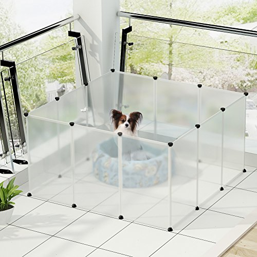 KOUSI-Small-Pets-Playpen-Indoor-Yard-Fence-for-Small-Animals-Popup-Kennel-Crate-Portable-Large-Dog-Guinea-Pigs-Rabbit-Puppy-Tent-Transparent-12-Plastic-Panels