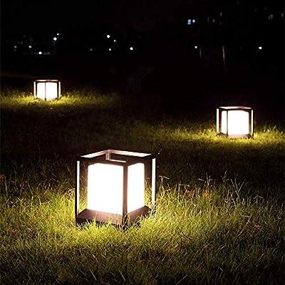 Beautiful Home Decoration Lamps Columna exterior de pedestal Camino Iluminación exterior Lámpara Negro de aluminio de acrílico Pantalla jardín césped luces cuadradas Diseño de iluminación exterior imp: Amazon.es: Hogar