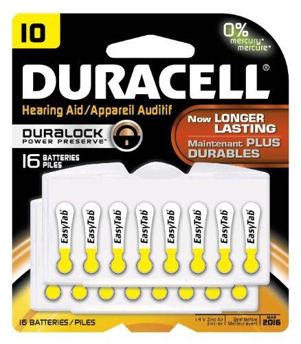 Duracell DA10B16ZM10 Easy Tab Hearing Aid Zinc Air Battery, 10 Size, 1.4V, 95 mAh Capacity (Pack of 16)