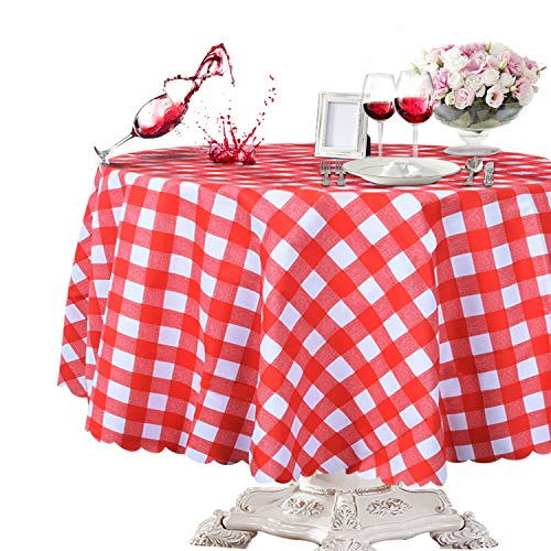 Round Red Vinyl - OUWIN 100% Waterproof Round Tablecloth Spill-Proof Wipeable PVC Vinyl Table Cover Indoor Outdoor Picnic Table Cloth (54