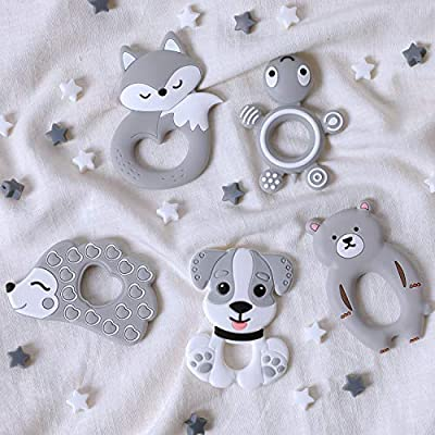 5pcs Cute Silicone Animals Baby Teetehr Set Grey Series BPA Free Teether Necklace Pendant DIY Crafts Baby Nursing Accessories Neutral Gift: Toys & Games