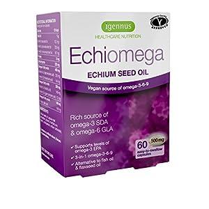 Echiomega Vegetarian Echium Seed Oil Omega-3-6-9 1000 Mg, 60% Better Than Flaxseed Oil for Increasing Omega-3 EPA, for Heart, Brain, Skin and Eye Health, Alternative to Fish Oil, 60 Softgels