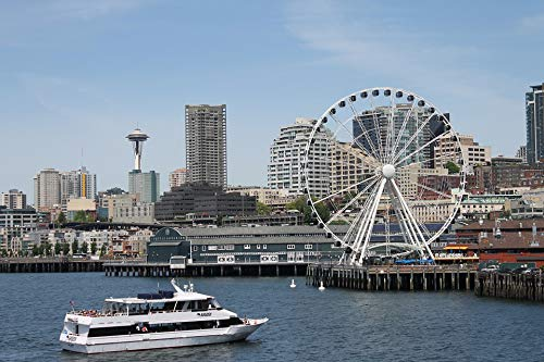Home Comforts Peel-n-Stick Poster of Washington State Ferry Boat Seattle Scenic Skyline Vivid Imagery Poster 24 x 16 Adhesive Sticker Poster Print