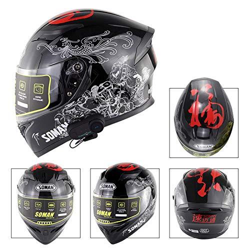 Anti-Glare Full Face Flip up Dual Visors Modular Bike Motorcross Helmets Intercom Helmet//Rider to Rider 59-60cm MOPHOTO Bluetooth Integrated Motorcycle Helmets Matte Black Large