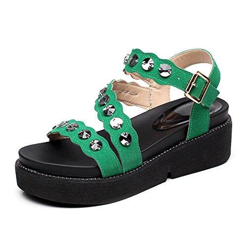 Vert YMFIE Mode Paillettes élégant et Confortable Sandales à Bout Ouvert Mesdames extérieur antidérapant Plage Chaussures 34 EU