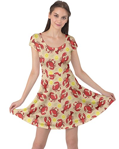 CowCow Womens Red Lobster and Crab Lemon and Dill Pattern Short Sleeve Dress, Red - L