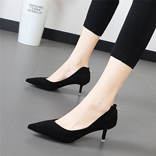 Xue Qiqi Schwarze Heels High Heels Schwarze mit der Spitze eines einzigen Schuh und vielseitige Licht - Mädchen Schuhe 93d2ef