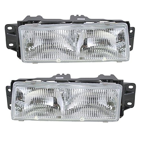 Headlights Headlamps Left & Right Pair Set for 87-96 Olds Cutlass Ciera