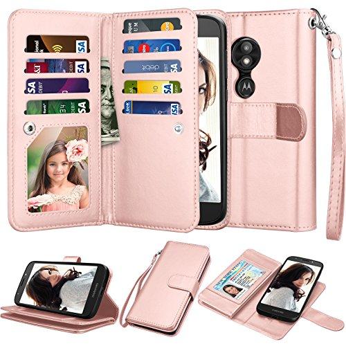 njjex Mote E5 Play Wallet Case, Motorola Moto E5 Cruise/Moto E5 GO 5.2 Case, [9 Card Slots] PU Leather ID Credit Folio Flip Cover [Detachable][Kickstand] Magnetic Phone Case & Wrist Strap -Rosegold