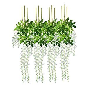 BTSD-home Artificial Fake Wisteria Vine Garland Silk Wisteria Vine Ratta Hanging Flowers for Home Garden Party Wall Wedding Decor, 12 Pieces 47