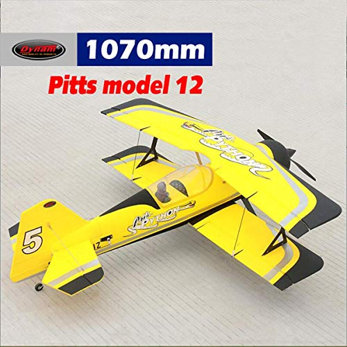- DYNAM RC Airplane Pitts Model 12 Yellow 1070mm Wingspan -PNP