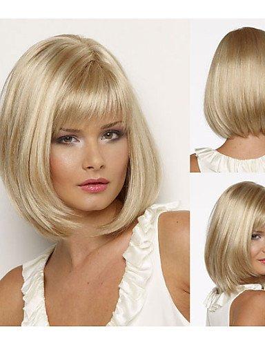 Práctico Mode pelucas pelo europeo Bob synthetische pelucas Corto lisa pelo Blonde peluca para mujer pelucas