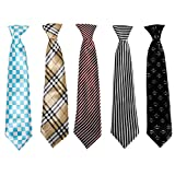 Bundle Monster 5pc Mix Design Boys Formal Pre-Tied Polyester Neckties - Set 7, Cheeky Little Lad
