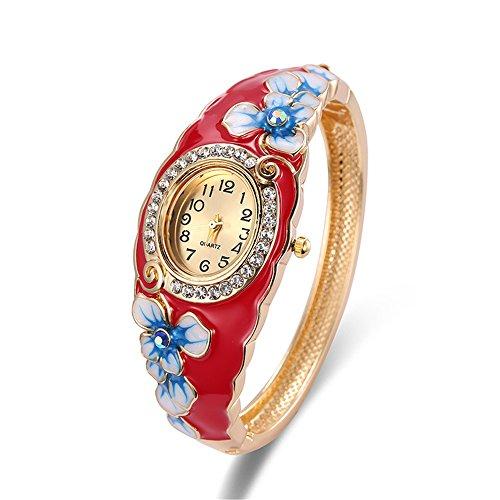 18K gold Jingtai red palace painted jewelry bracelets popular diamond ethnic jewelry (Set Bridal Diamond Invisible)