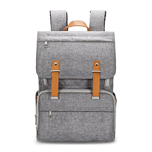 Upsimples Diaper Bag Backpack Baby Nappy Diaper Bag for Mom Dad with Stroller Straps Changing Pad Laptop Sleeve Insulated pocket Gray