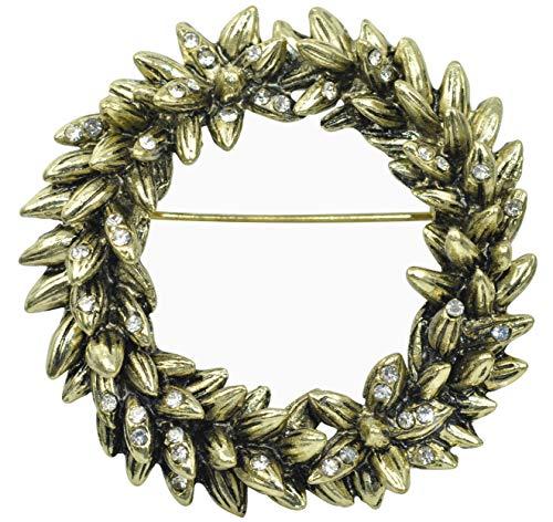 (Gyn&Joy Antique Vintage Inspired Christmas Leaf Floral Wreath Gift Clear Cystal Rhinestone Pin Brooch BZ164)
