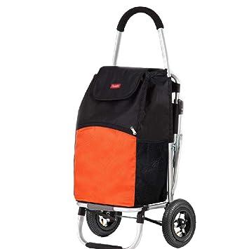 BFQY FH Carro De La Compra, con La Carretilla del Asiento/Carretilla Portátil/Carro De Aluminio Mayor/Rueda Inflable, 2 Colores Opcionales (Color : Orange): ...