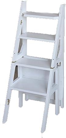 ANHPI Escalera De Mano Plegable Madera Taburete De Escaleras Estante De Flores Estantes De Escalera Multifuncionales De Doble Uso Taburete De Cocina para Escalar,White: Amazon.es: Hogar