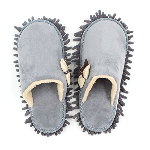 Price comparison product image Kisstaker One Pair Mop Cleaning Dusters House Slippers Shoes Cover Grey