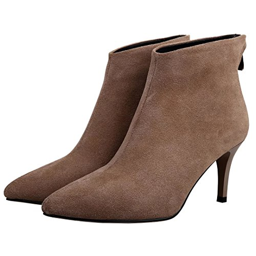 Winter Booties Autumn Women's Ankle Toe apricot Boots Zipper Pointed AIYOUMEI Back 0wqpXp